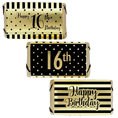 (Black and Gold Sweet 16 Birthday Mini Candy Wrappers | Shiny Foil | 45 Stickers)