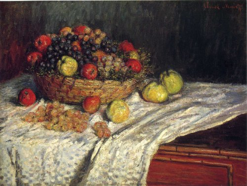 Artisoo Fruit Basket with Apples and Grapes – サイズ: 30 x 23インチ – 印象派油絵Reproduction – クロード・モネの商品画像