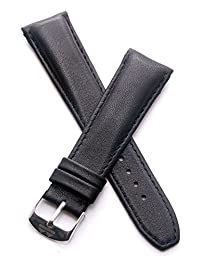 22 mm Classic black calf leather pin buckle strap to fit TAG Heuer Formula 1 watches with 22 mm lug width as listed below