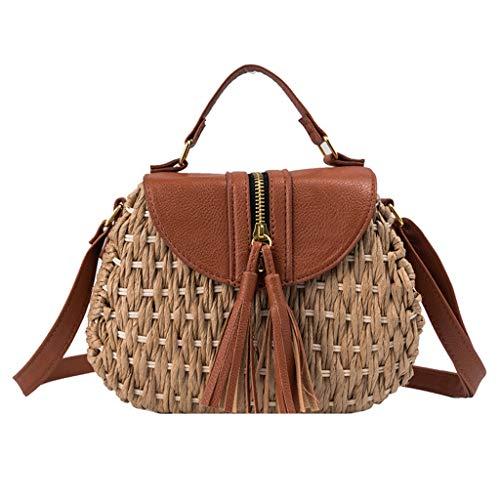 (Wallets for Women Miuye Stylish Handwoven Messenger Bags with Tassel Ladies Beach Travel Backpack Top Handle Bag Brown)