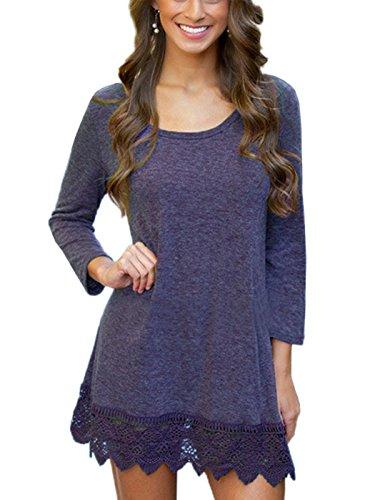 MiYang Women's Long Sleeve A-Line Lace Stitching Trim Casual Dress XL (Violet Trim)