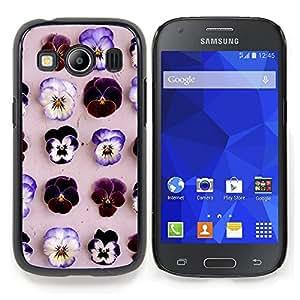 Stuss Case / Funda Carcasa protectora - Modelo de flores púrpura primavera Beige - Samsung Galaxy Ace Style LTE/ G357