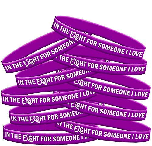 in The Fight for Someone I Love Pancreatic Cancer Lupus Alzheimer's Wristband Bracelet 10-Pack (Purple)