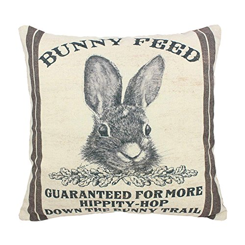Easternproject Vintage Burlap Poultry Feed Sack Cotton Linen Throw Pillow Case Decorative Cuhsion Cover for Home Farmhouse 18x18 Inches (Bunny Feed)