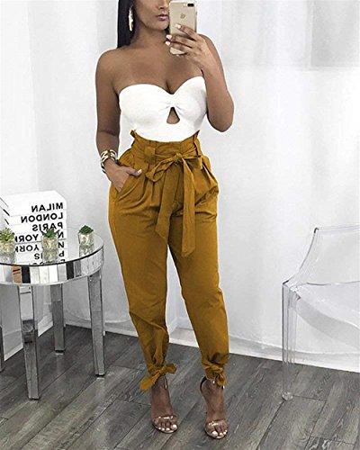 High Pantaloni Inclusa Cute Trousers Cintura Estivi Tempo Colori Donna Libero Fashion Pantaloni Waist Pantalone Slim Eleganti Chic Fit Streetwear Per Solidi Gelb Primaverile Casuali 1ZEUZBR