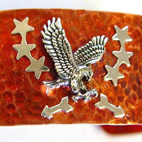 - American Eagle Bracelet in Sterling Silver and Hammered Copper, 7'' Cuff, Signed LD-68
