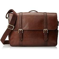 Fossil Men's Estate Saffiano Leather East-West Messenger Bag, Cognac