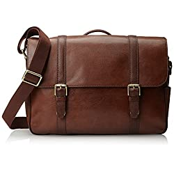 Fossil Men's Estate Leather East-West Messenger Bag, Cognac, One Size