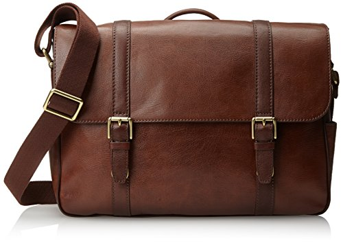 Fossil Men's Estate Saffiano Leather East-West Messenger Bag, Cognac by Fossil