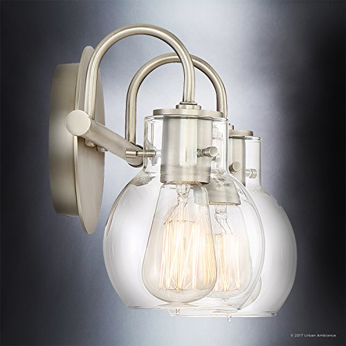 Luxury Vintage Bathroom Light, Medium Size: 9''H x 14''W, with Industrial Style Elements, Floating Glass Design, Aged Nickel Finish and Clear Glass, Includes Edison Bulbs, UQL2040 by Urban Ambiance by Urban Ambiance (Image #4)