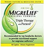 MigreLief® Original Triple Therapy with Puracol™ - Nutritional Support for Migraine Sufferers - 60 Caplets/1 Month Supply