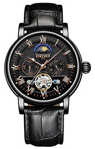 (Moon Phase Automatic Watch Men Chronograph Tourbillon Skeleton Mechanical Multifunction Watches)