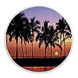 iPrint Thick Round Beach Towel Blanket,Hawaiian Decorations,Hawaiian Sunset on Big Island Anaehoomalu Bay Tropic Horizon Ocean Romantic Resort Decorative,Multi-Purpose Beach Throw