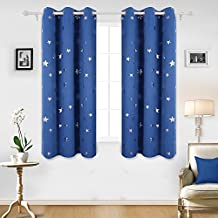 Deconovo Room Darkening Silver Star Print Panels Grommet Thermal Insulated Blackout Curtains For Nursery Room 42x63 Inch Blue Set of Two