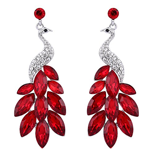 EVER FAITH Peacock Dangle Earrings Austrian Crystal - Silver-Tone Red