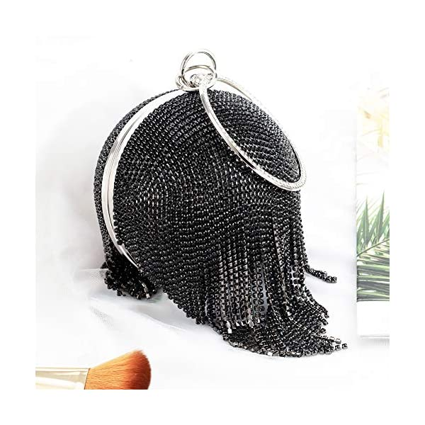 Womans Round Clutch Ball Handbag Dazzling Full Rhinestone Tassels Ring Handle Purse Evening Bag (Black)