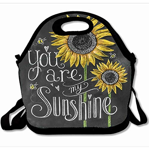 Ahawoso Reusable Insulated Lunch Tote Bag You Are My Sunshine Sunflowers Chalk Painting 10X11 Zippered Neoprene School Picnic Gourmet Lunchbox