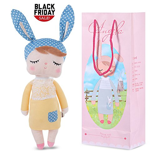 Stuffed Doll Toy Bunny Girls Baby Angela Plush Doll 14 inch Soft Cuddly Kind Rabbit Doll for Baby Kids - Birthday Gifts , Kid's Sleeping Partner , MeToo X SKM, (Bunny Plush Doll)