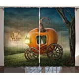 Kids Decor Curtains by Ambesonne, Abstract Fairytale Image with Orange Pumpkin Light Scenery Princess Ella Image, Living Room Bedroom Window Drapes 2 Panel Set, 108W X 63L Inches, Multicolor
