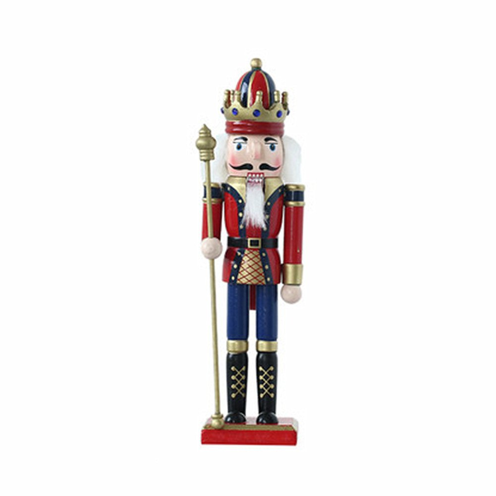 O-Toys Wooden Nutcracker Ornaments Christmas Decoration Figures Puppet Toys Christmas Gifts Home Decor (12 Inch, Scepter)