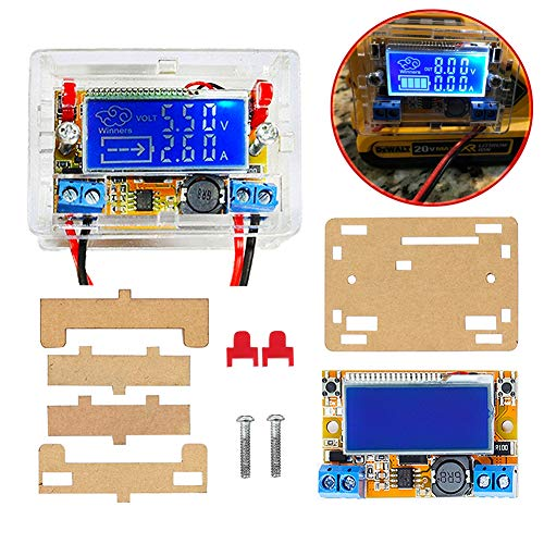 ICStation DC-DC Adjustable Voltage Regulator DC Buck Converter 5-23V to 0-16.5V 3A Step Down Power Supply Module LCD Display Digital Voltmeter Ammeter with Shell