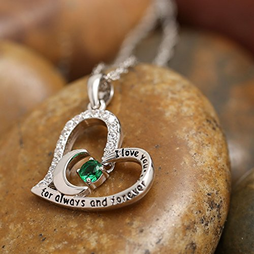 Dancing Birthstone Birthstone Jewelry I Love You For Always and Forever Emerald Pendant Necklace Birthstone Necklace (05-May-Emerald) by Anna Crystal Jewelry (Image #2)