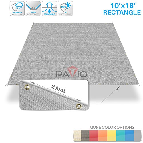 (Patio Paradise 10' x 18' Straight Edge Sun Shade Sail, Light Grey Rectangle Outdoor Shade Cloth Pergola Cover UV Block Fabric - Custom 3 Year Warrenty)