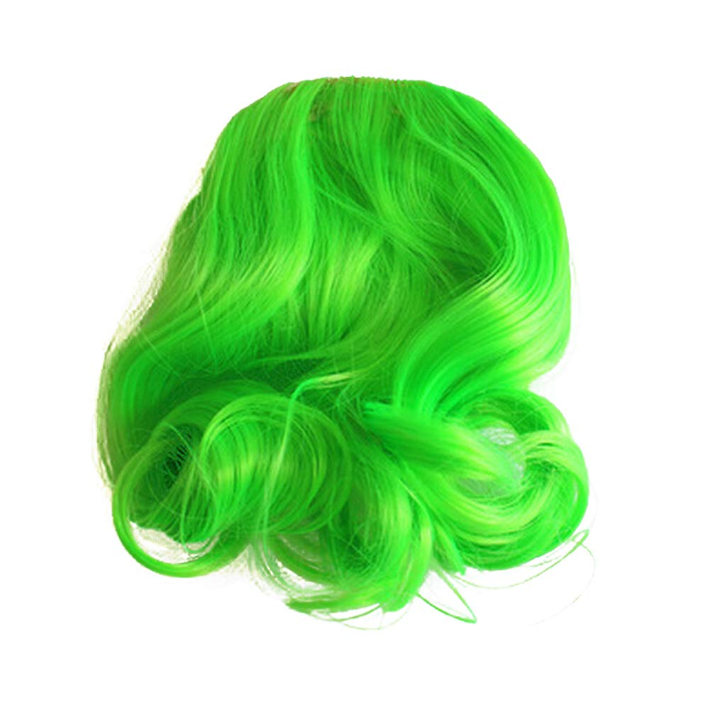 TEEMI-Wavy False Bang Bun Wig Hairpiece Clip in Hair Extensions Accessories 8 Colors (Green)