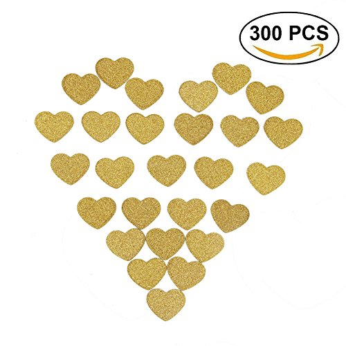 Ikooo 300 pcs Gold Glitter Heart Confetti Table Decorations for Wedding Bachelorette Party (300 pcs (Gold Table Decorations)