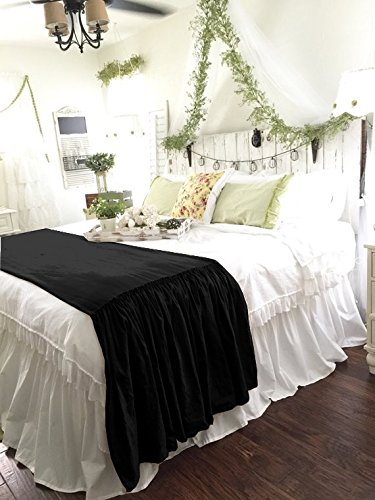 FABRICART FRENCH COLLECTION : floss velvet ruffled drop bed runner/bed scarf - 24'' ruffled drop BLACK, CAL KING- (25'' X 72'')+ 24'' DROP by FABRICART