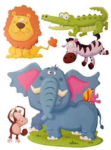 Nursery Wall Decals Stickers for kids Peel & Stick Wall Art Stickers 3D Removable Embellishment Art Dimensional Chipboard Stickers Colorful Animals, Lion, crocodile, zebra, elephant, monkey