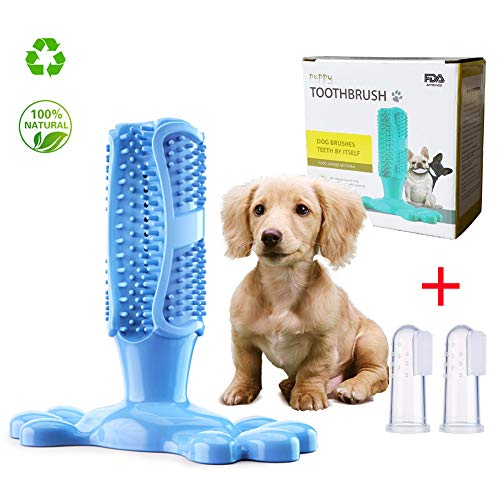 XEARS-7 Dog Toothbrush,Dog Toothbrush chew Toy,Puppy Toothbrush Nontoxic Natural Rubber Bite Chew Toys for Small Large…