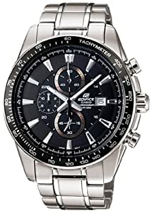 Casio Men's Edifice EF547D-1A1V Silver Stainless-Steel Quartz Watch with Black Dial