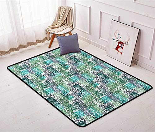 Abstract Low Profile Area Rug Dots Bubbles Circular Rings in Colors Contemporary Style Soft Floor Mat Living Room Carpet Nursery Rug 4' x 5' Pale Sea Green Turquoise Blue Grey 4' Square Mud Ring