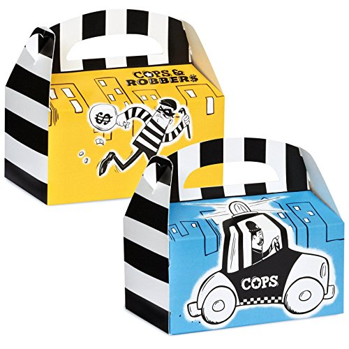 [Police Party Cops and Robbers Party Empty Favor Boxes (4)] (Police Officer Party Supplies)