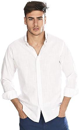 Camisa Manga Larga semientallada con Tejido Tipo Lino Blanco para Hombre: Amazon.es: Ropa y accesorios