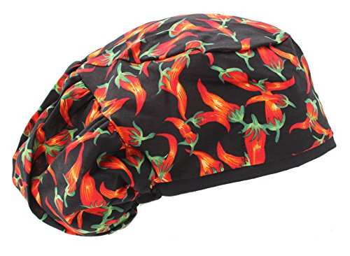 Extra Room Hot Colorful Chili Pepper Scrub Cap with Cord Lock