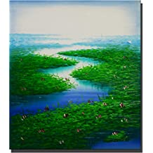 Hwagui - Painting Green Plant in the Lake and Some Flower Blossom the Color Care Your Eyes 100% Hand-painted (Unframed) Oil Painting