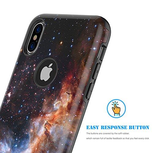 iPhone X Case,iPhone 10 Case,BENTOBEN Nebula Galaxy Universe Design Slim Shockproof 2 in 1 Hybrid Hard PC Flexible TPU Protective Phone Cover for Apple iPhone X/iPhone 10 5.8'', Blue/Purple Photo #2