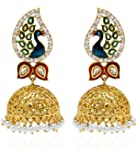 YouBella Jewellery Dancing Peacock Gold Plated Jhumki Earrings for Women Traditional Earrings for Girls