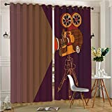 alichenzhi Print Thermal Insulated Room Darkening Blackout Window Curtain Classic Movie Theater Machine with Cinema Fest Typography Past Filmmaker Brown for Bedroom(2 Panels, 54'' x 84'')