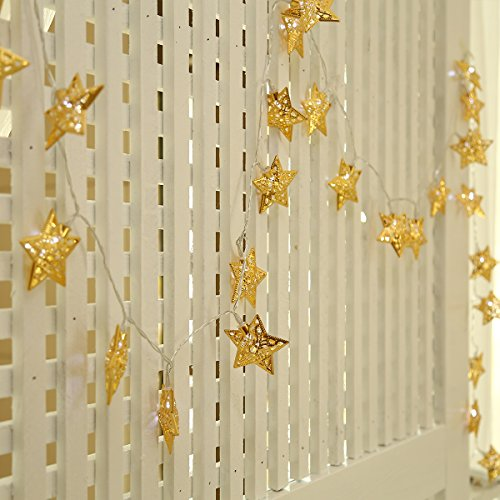 Nearby Party Supplies - Excelvan Battery Operated Golden Metal Star String Light 30 LEDS With Automatic Cycling Timer Decoration Lighting for Garden, Wedding, Party, Bedroom, Christmas