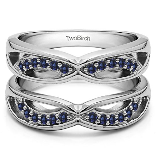 Silver Criss Cross Anniversary Style Jacket Ring Guard with Sapphire (0.24 ct. twt.) by TwoBirch