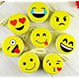 Problix Cute Smiley Emoji Yellow Metal Tin Pouch for Earphone, Coins, Memory Card, Pendrive and Jewellery (Pack of 6)