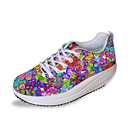 FOR U DESIGNS Bring Color Butterfly Women's Fitness Flats Soft Fitness Sport Sneakers Size 40