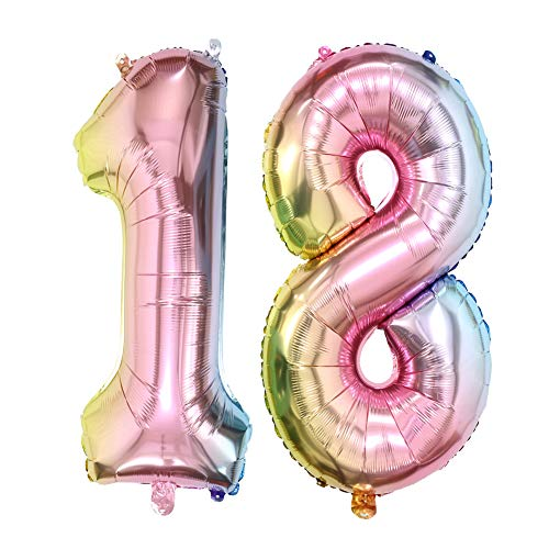 40inch Number 18 Balloons Rainbow Color Foil Mylar Balloon for 18th Birthday Party Decoration (40inch Number -