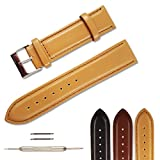 Leather Watch Band in Premium Genuine Cowhide for Watch Replacement Strap Comes in Choice of Color & Width 18mm, 20mm or 22mm by Chronostrap