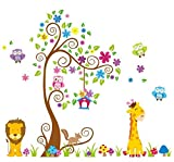 Tia*Wall stickers for kids room Baby Nursery Boys & Girls Bedroom Decals,Giant Wall Decals Removable Vinyl Stickers Tree Cute Animals Owl and Colorful Flowers 60*80inch Picture
