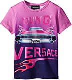 Versace Kids Baby Girl's Short Sleeve Logo Car Graphic T-Shirt (Toddler/Little Kids) Pink/Multi 4T