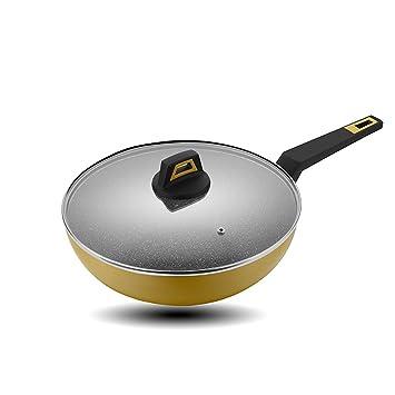 Fry Wok Cacerolas planas Pan antiadherente Menos Fumos de aceite Sarten Fry Wok Aplicar a la cocina de inducción Estufa de gas 30CM aleación de aluminio Fry ...